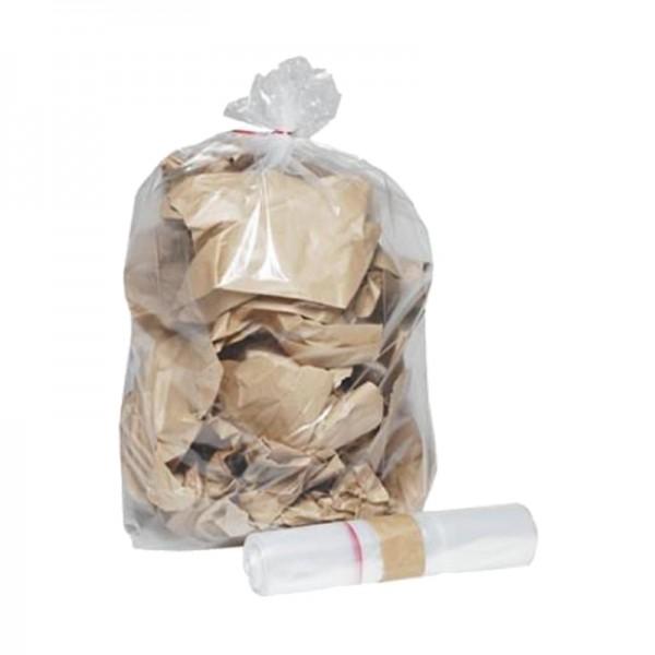 Sac poubelle basse densité 45µ - transparent - 150 L - carton de 5 x 20 sacs