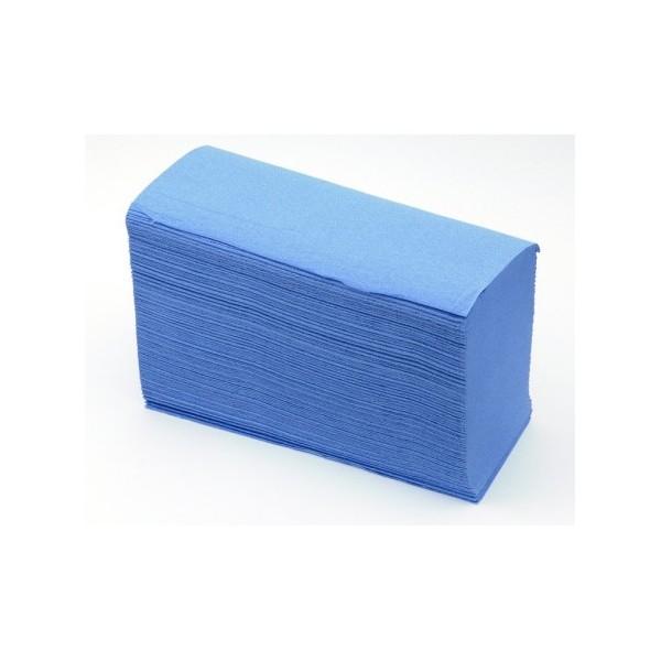 Essuie main pure ouate bleue gaufrée pliage V 23 x 24cm