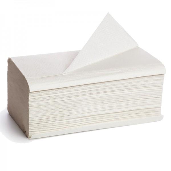 Essuie main pure ouate blanche gaufrée pliage V 21 x 22cm