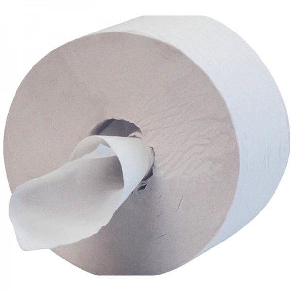 Papier hygiénique pure ouate blanche lisse - 2 plis - 750 feuilles - dévidage central
