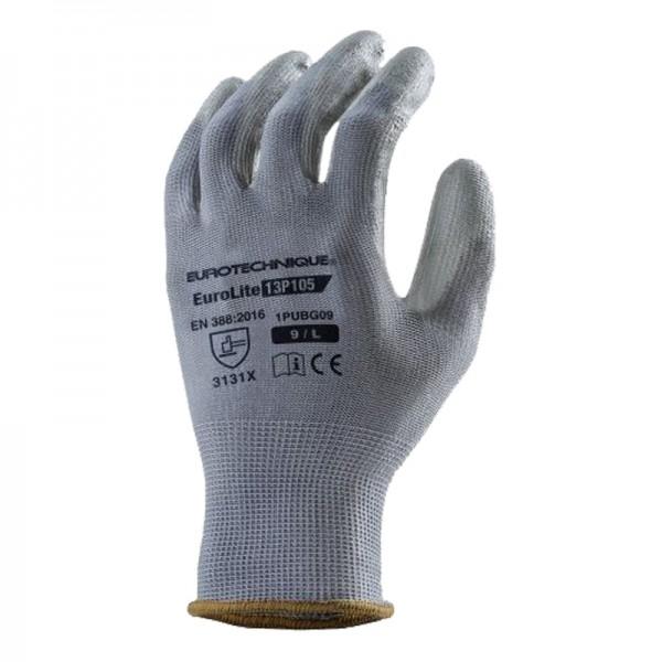 Gants polyester gris avec paume enduite PU