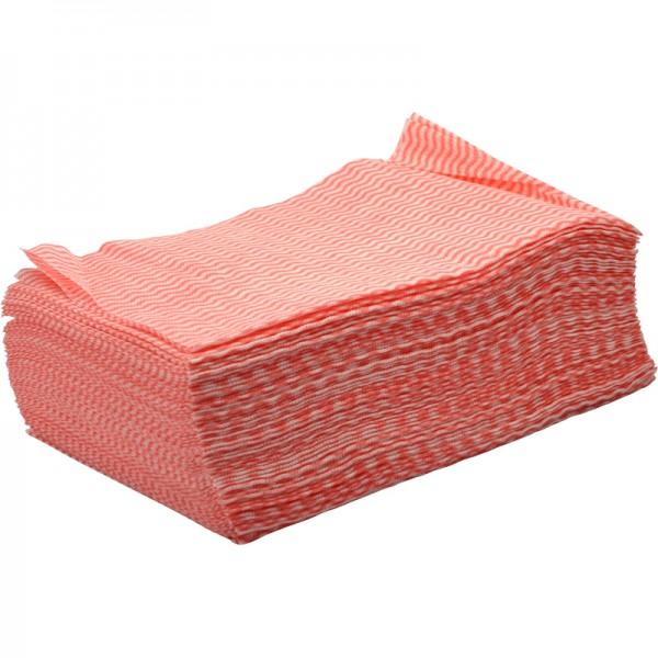 Non tissé lavette ajourée fin rouge paquet de 50