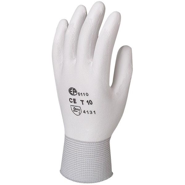 Gant polyester blanc avec paume enduite
