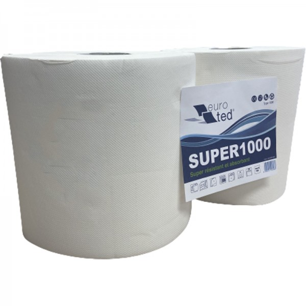 Bobine pure ouate blanche type 1000F micro gaufrée 25 x 22 cm