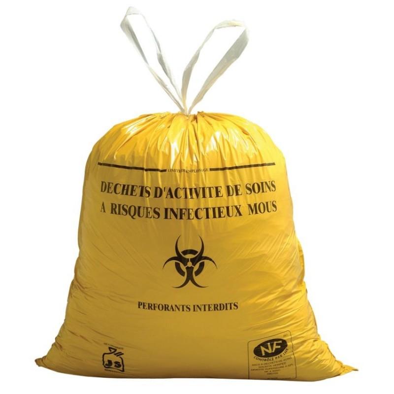 Sac poubelle jaune spécial hôpital 20L 19µ rouleau 25 sacs
