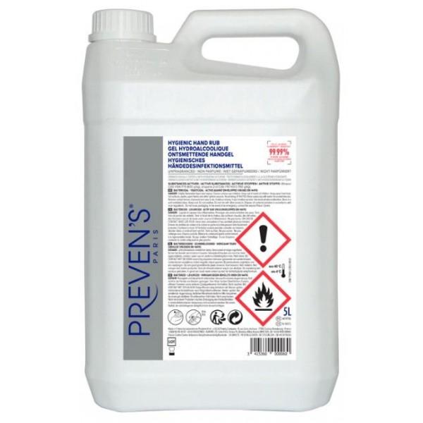 Gel hydroalcoolique inodore / incolore en bidon de 5 litres