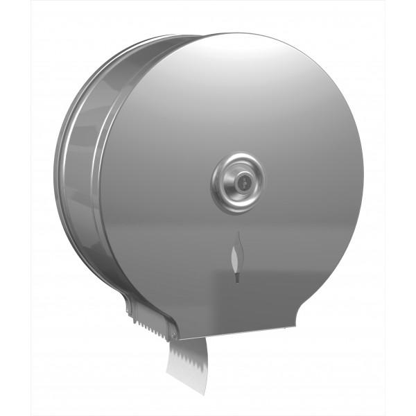 Dérouleur papier toilette mural inox pour bobine mini jumbo