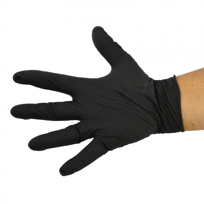 Gant nitrile noir très résistant avec picots