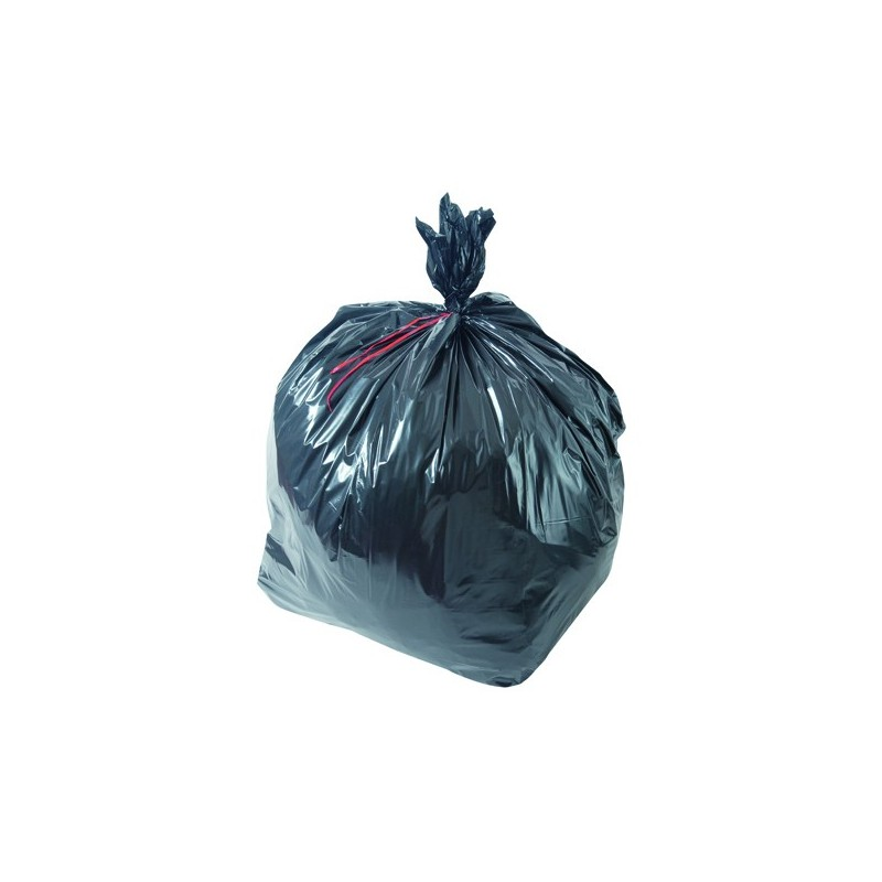 Sac poubelle noir basse densité 50L 30µ rouleau de 25 sacs