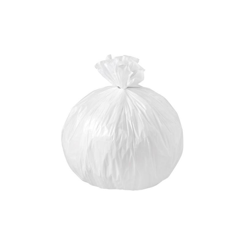 Sac poubelle blanc basse densité 50L 30µ rouleau de 20 sacs
