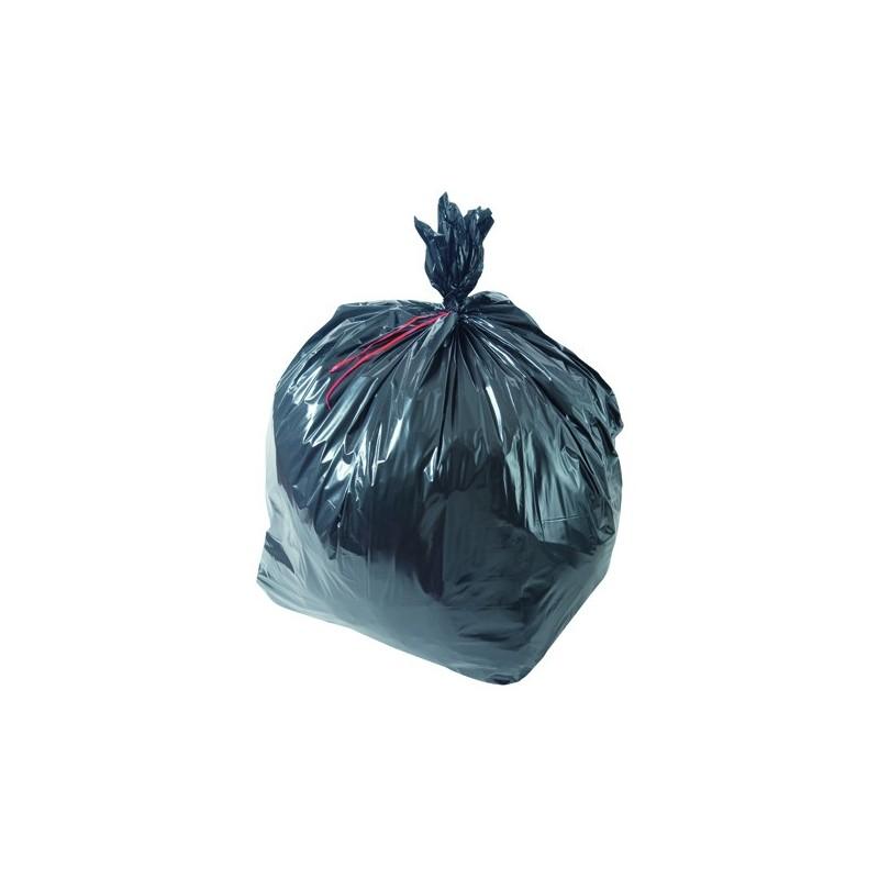 Sac poubelle noir basse densité 200L 60µ rouleau de 20 sacs