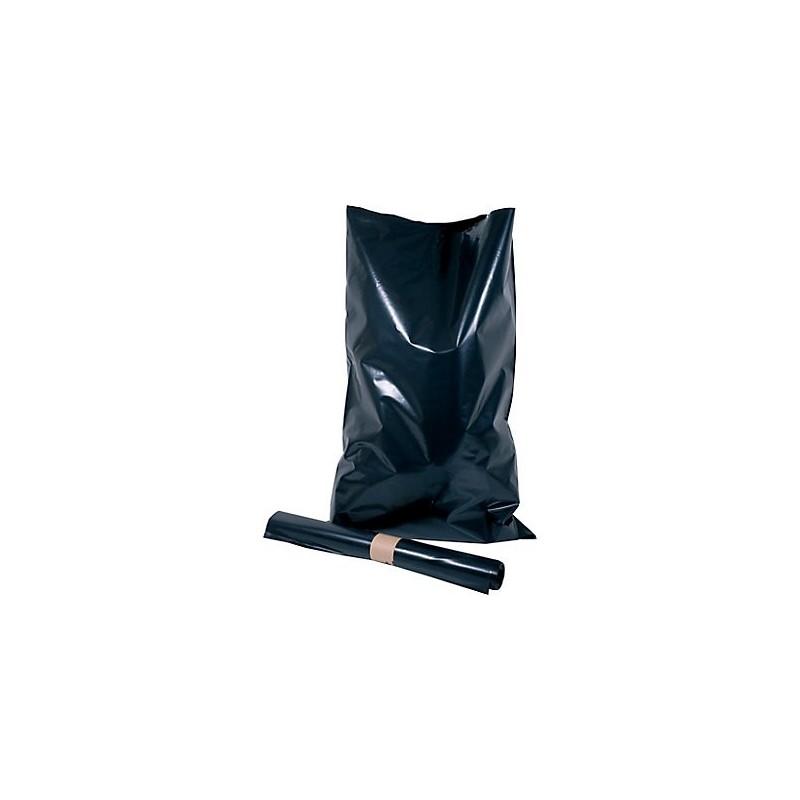 Sac à gravats noir basse densité 60L 120µ rouleau de 10 sacs