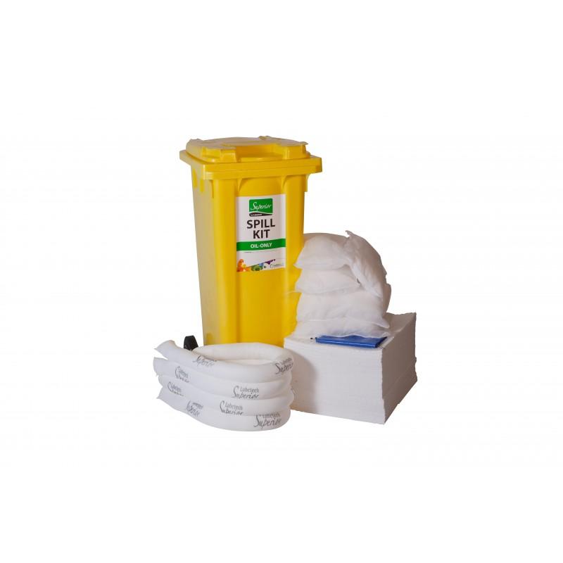 Kit antipollution de 120 litres présenté en poubelle avec roues. Absorbe uniquement les...