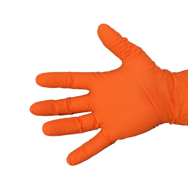 Gant en nitrile orange très résistant avec picots
