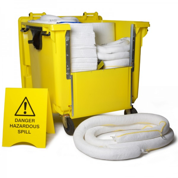 Kit antipollution sur roulettes - absorbant hydrocarbures - 600 litres