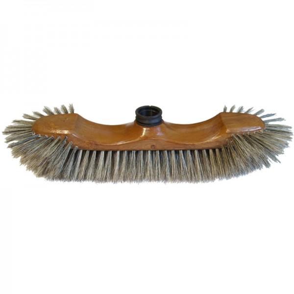 Balai demi-tête verni façon bois soie grise - 30 cm