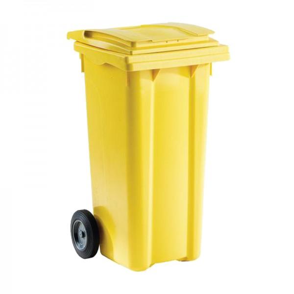 Conteneur poubelle 120 litres jaune sans barres à 2 roues