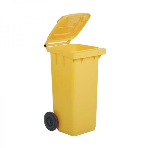 Conteneur poubelle 240 litres jaune sans barres à 2 roues