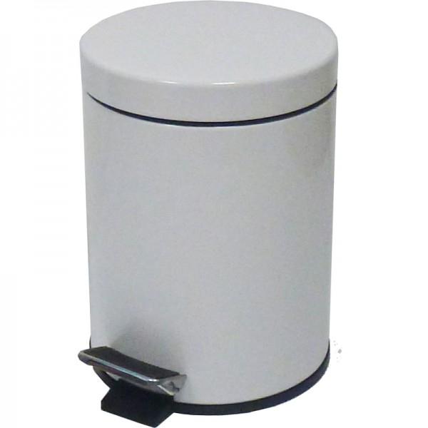 Poubelle  3 litres à pédale - extérieur métal blanc-
