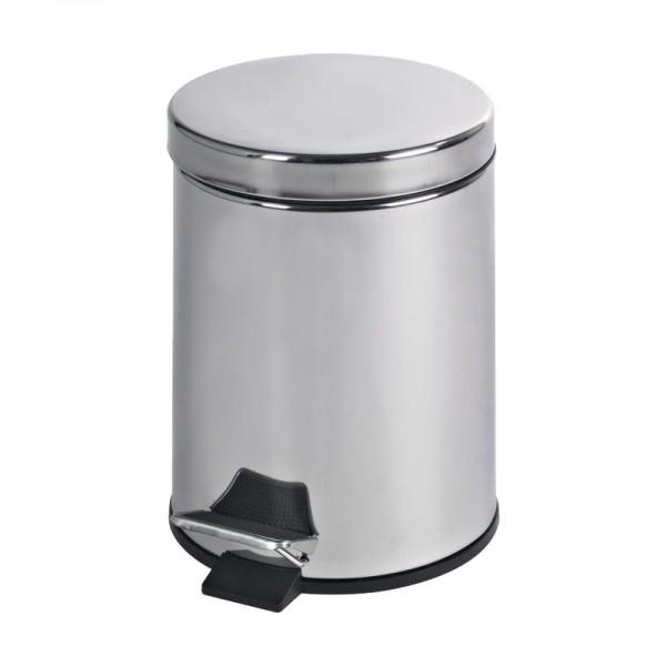 Poubelle  5 litres à pédale - inox miroir -
