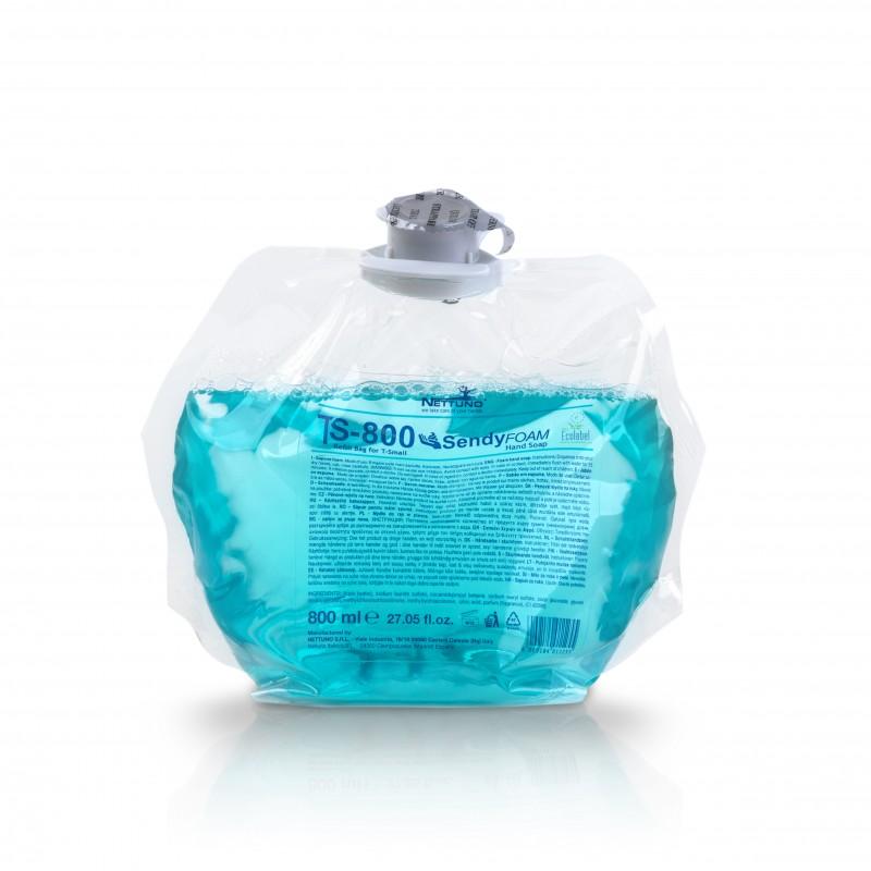 Savon mousse mains bleu parfum fleuri cartouche de 800 ml