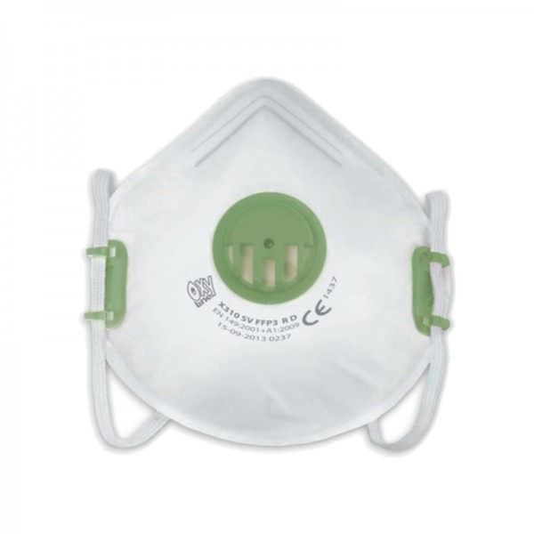 Masque de protection filtrant à coque avec valve FFP3 - sachet de 50 masques