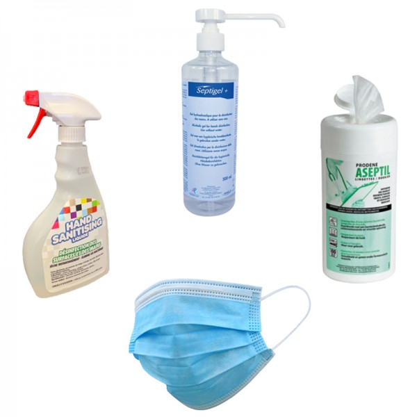 Pack PROTECTION COVID - 1 gel hydro 500 ml + 50 masques + 1 spray désinfectant 500 ml + 100...
