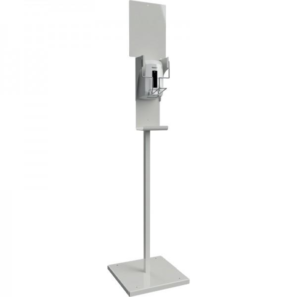 Distributeur de gel hydroalcoolique sur pied à coude - blanc - 1,1 L